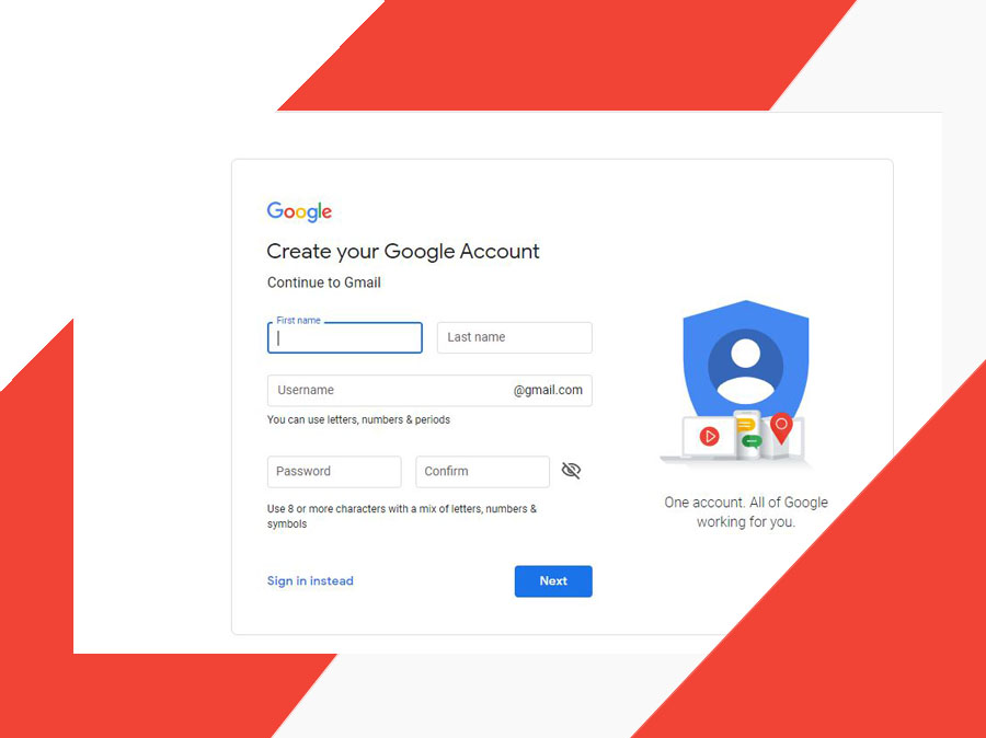 Gmail Sign Up New User Account - Create a Gmail Account   Gmail Sign Up